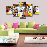 5 Panel Aaron Rodgers Quarterback Green Bay Packers Modern Décor Canvas Wall Art HD Print.
