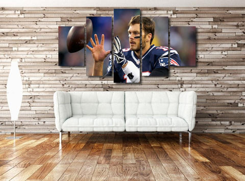 5 Panel Tom Brady New England Patriots Modern Décor Canvas Wall Art HD Print.