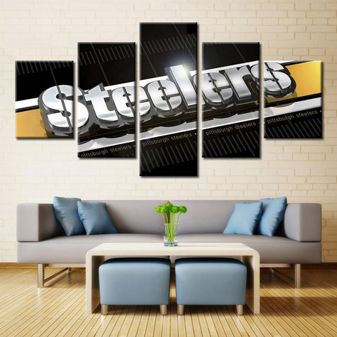 5 Panel Pittsburgh Steelers Modern Décor Canvas Wall Art HD Print.