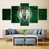 5 Panel Boston Celtics Modern Décor Canvas Wall Art HD Print.