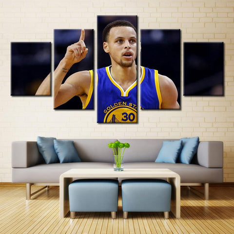 5 Panel NBA Star Players Stephen Curry Modern Décor Canvas Wall Art HD Print.