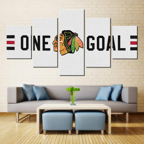 5 Panel Chicago Blackhawks Team Modern Décor Canvas Wall Art HD Print.