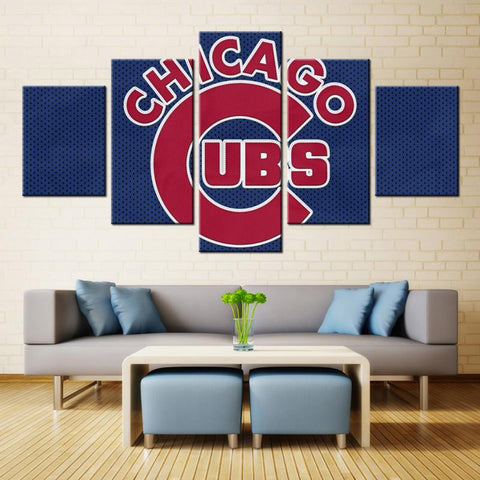 5 Panel Chicago Cubs Logo Modern Décor Canvas Wall Art HD Print.
