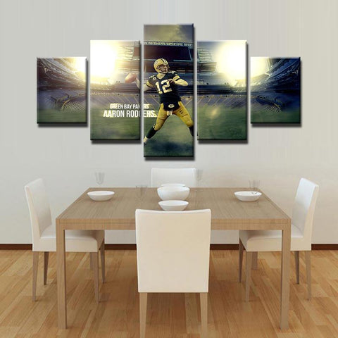 5 Panel Aaron Rodgers Quarterback #2 Green Bay Packers Modern Décor Canvas Wall Art HD Print.