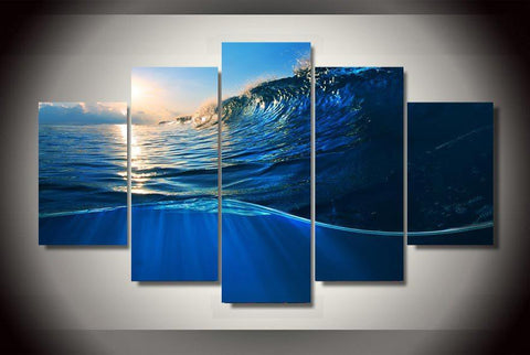 5 Panel Ocean Wave Blue Sea Modern Décor Canvas Wall Art HD Print.