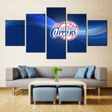 5 Panel Los Angeles Clippers Logo Modern Décor Canvas Wall Art HD Print.