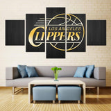 5 Panel Los Angeles Clippers Modern Décor Canvas Wall Art HD Print.