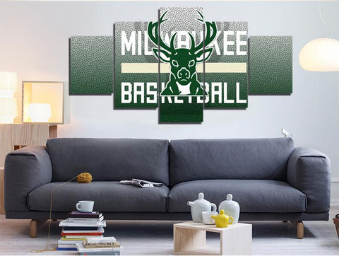 5 Panel Milwaukee Bucks Modern Décor Canvas Wall Art HD Print.