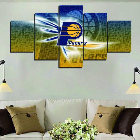 5 Panel Indiana Pacers Modern Décor Canvas Wall Art HD Print.