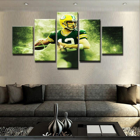 5 Panel Aaron Rodgers Modern Décor Canvas Wall Art HD Print.