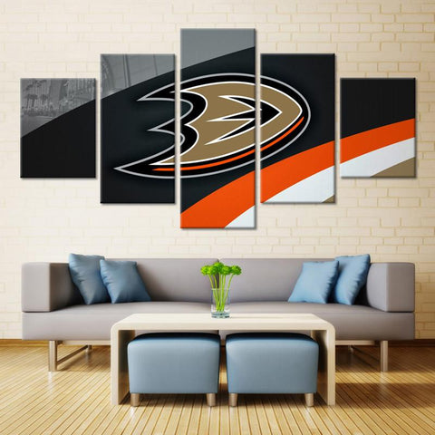 5 Panel Anaheim Ducks Modern Décor Canvas Wall Art HD Print.