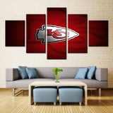 5 Panel Kansas City Chiefs Modern Décor Canvas Wall Art HD Print.