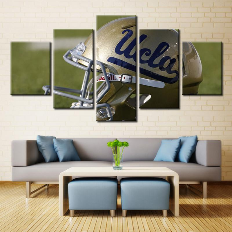 5 Panel UCLA Bruins Helmet Modern Décor Canvas Wall Art HD Print.