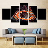 5 Panel Framed Chicago Bears Glove Modern Décor Canvas Wall Art HD Print.