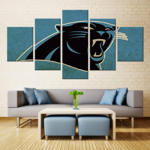 5 Panel Carolina Panthers Mascot Modern Décor Canvas Wall Art HD Print.