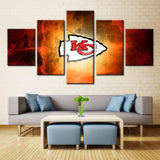 5 Panel Kansas City Chiefs Logo Modern Décor Canvas Wall Art HD Print.
