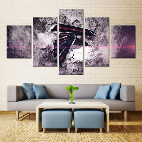 5 Panel Atlanta Falcons Modern Décor Canvas Wall Art HD Print.