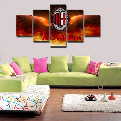 5 Panel Associazione Calcio Milan Modern Décor Canvas Wall Art HD Print.