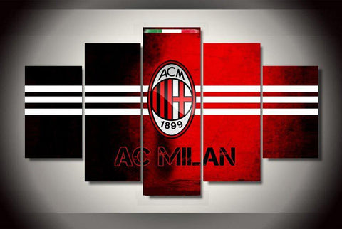 5 Panel The AC Milan Football Club Modern Décor Canvas Wall Art HD Print.