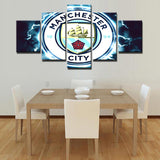 5 Panel Manchester City FC Modern Décor Canvas Wall Art HD Print.
