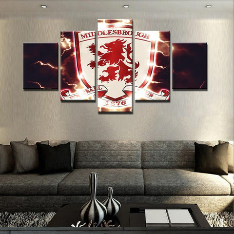 5 Panel Middlesbrough Football Club Modern Décor Canvas Wall Art HD Print.