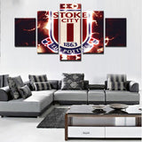 5 Panel Stoke City Football Club Modern Décor Canvas Wall Art HD Print.