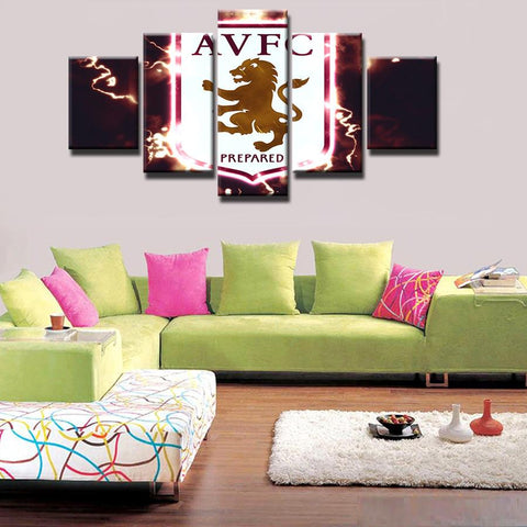 5 Panel Aston Villa Football Club Modern Décor Canvas Wall Art HD Print.