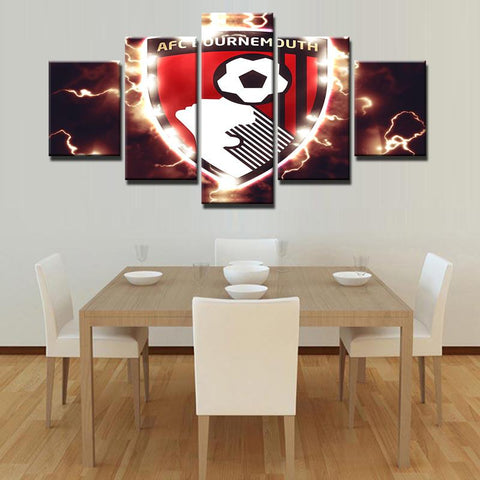 5 Panel A.F.C. Bournemouth Modern Décor Canvas Wall Art HD Print.
