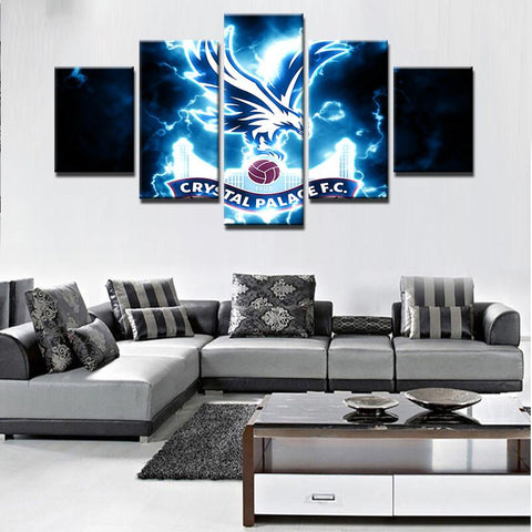 5 Panel Crystal Palace Football Club Modern Décor Canvas Wall Art HD Print.