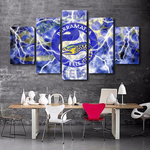 5 Panel Framed NRL Parramatta Modern Décor Canvas Wall Art HD Print.