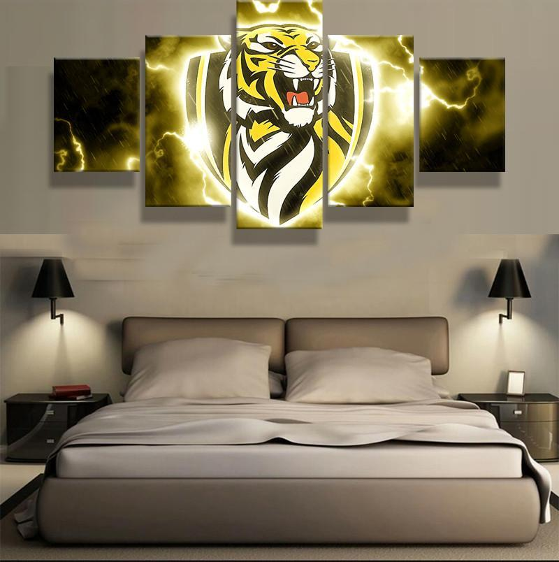 5 Panel Framed AFL Richmond Tigers Modern Décor Canvas Wall Art HD Print
