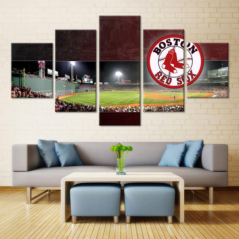5 Panel Boston Red Sox Stadium Modern Décor Canvas Wall Art HD Print.