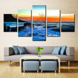 5 Panel Sunset Reef Sea Wave Seascape Modern Décor Canvas Wall Art HD Print.
