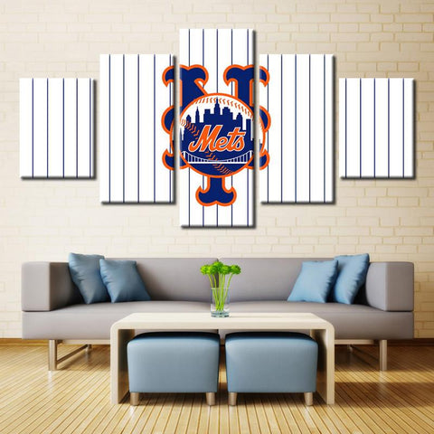 5 Panel New York Mets Sports Team Modern Décor Canvas Wall Art HD Print.