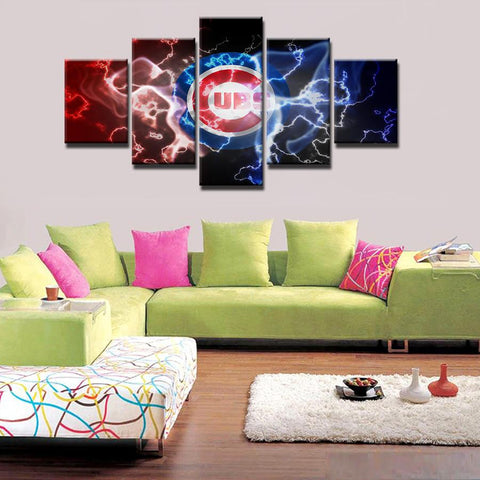 5 Panel Chicago Cubs Modular Wall Art Canvas Painting Style Wall.