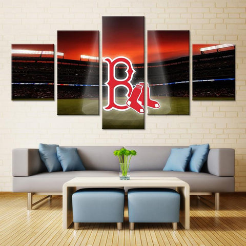 5 Panel Boston Red Sox Modern Décor Canvas Wall Art HD Print.