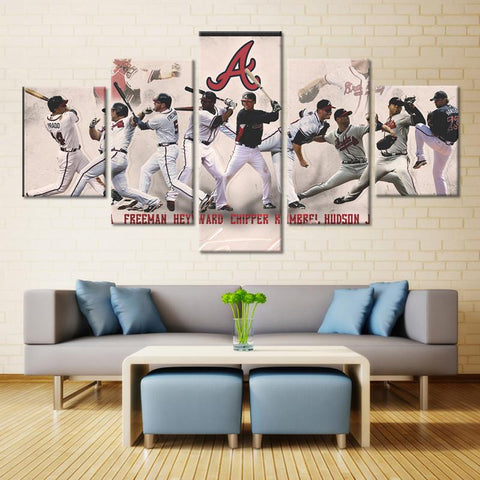 5 Pieces Atlanta Braves Players Modern Décor Canvas Wall Art HD Print.