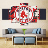 5 Panel Boston Red Sox Sports Modern Décor Canvas Wall Art HD Print.