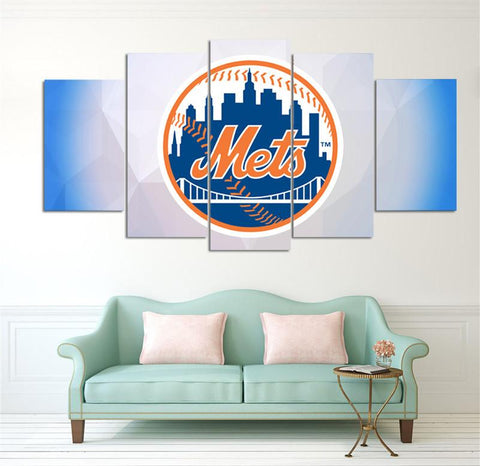5 Panel New York Mets Modern Décor Canvas Wall Art HD Print.