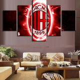5 Panel AC Milan Football Team Modern Décor Canvas Wall Art HD Print.
