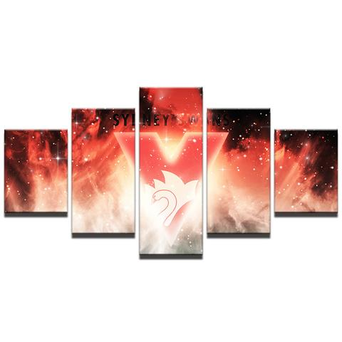 5 Panel Sydney Swans Modern Décor Canvas Wall Art HD Print.