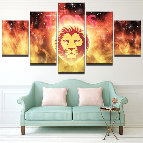5 Panel Brisbane Lions Modern Décor Canvas Wall Art HD Print.