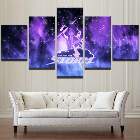 5 Panel Melbourne Storm NRL Modern Décor Canvas Wall Art HD Print.