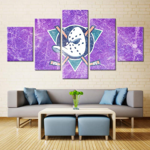 5 Panel Mighty Ducks Modern Décor Canvas Wall Art HD Print.