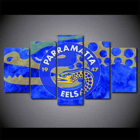 5 Panel Parramatta Logo Modern Décor Canvas Wall Art HD Print.