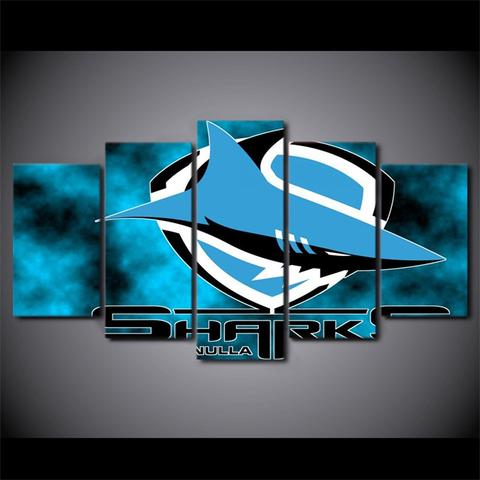 5 Panel Cronulla Sharks Modern Décor Canvas Wall Art HD Print.