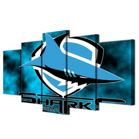5 Panel Cronulla Sharks Logo Modern Décor Canvas Wall Art HD Print.