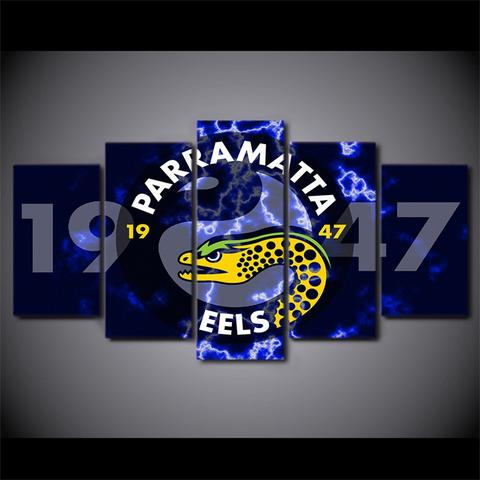 5 Panel Parramatta Eels Modern Décor Canvas Wall Art HD Print.