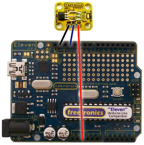 how to connect hall effect sensor to energia