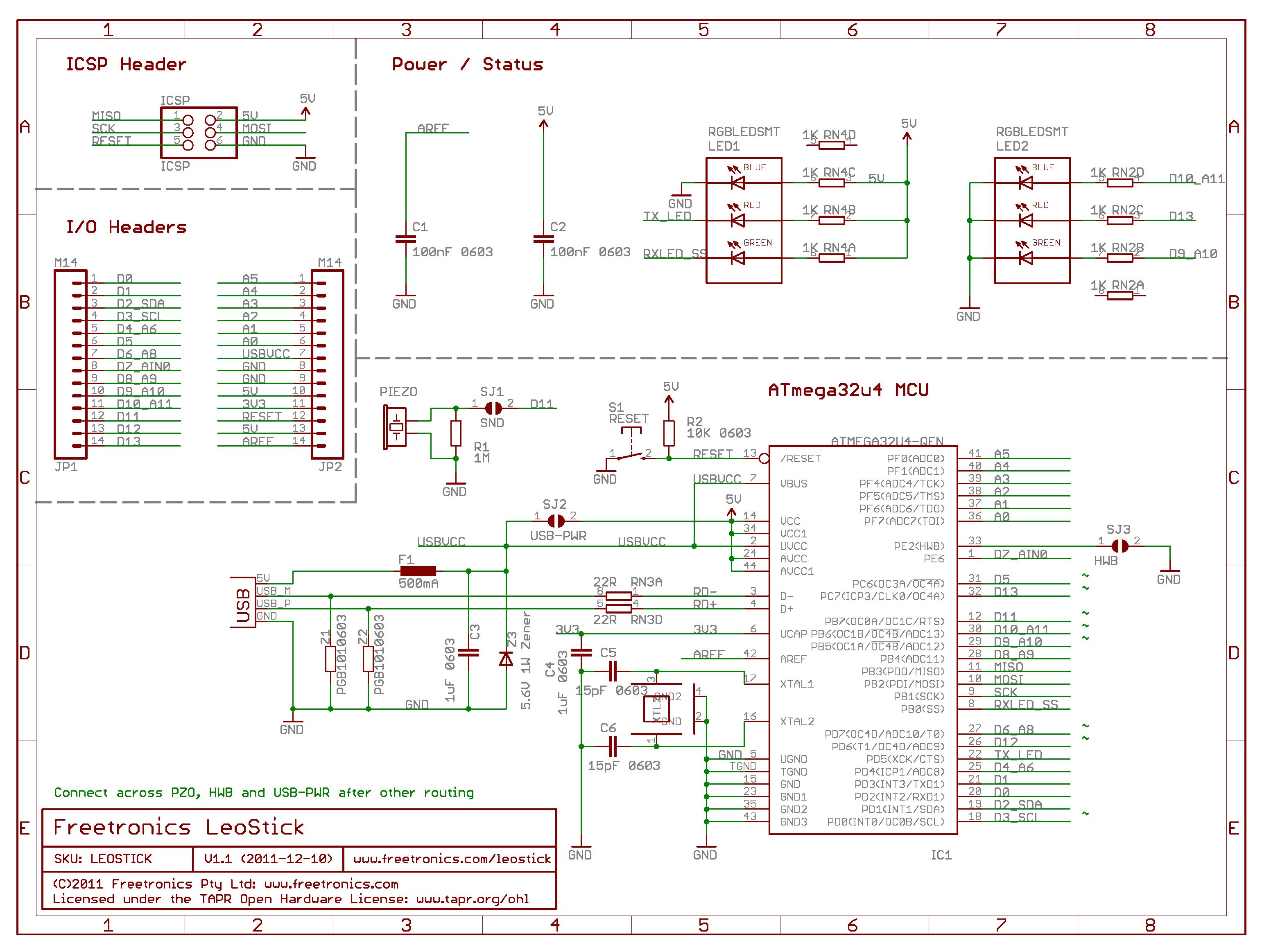 Leostick Getting Started Guide Freetronics Wiring Schematic V1 1 0 Usb